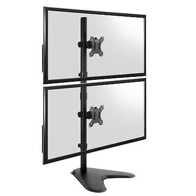 "TekBox DUAL MONITOR VERTICAL MOUNT - 2 Computer Screen Stand 13-32"" Twin Display 3"