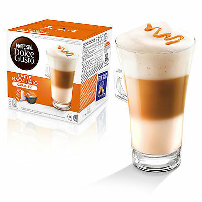 Dolce Gusto Latte Machiato Caramel Coffee 6 Boxes,Total 96 Capsules 48 Servings 3