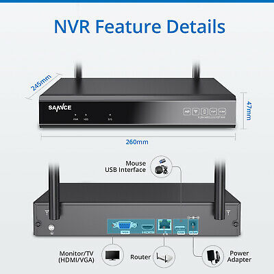 SANNCE Wireless 8CH NVR 1080P Video Outdoor WIFI 2MP Camera CCTV Security System 4