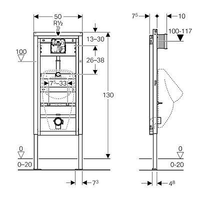 GEBERIT DUOFIX BASIC Vorwandelement Element für Waschtisch WC UP100 ...