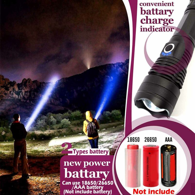 High Power 900000Lumens XHP50 Zoom Flashlight LED Rechargeable Torch Headlamp 10