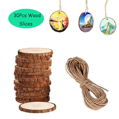 30Pcs Christmas Tree Ornaments DIY Natural Wood Slices Festival Decorations Gift 2