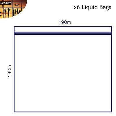 6 x Clear AIRPORT SECURITY LIQUID BAGS Plastic Seal HOLIDAY Travel HAND LUGGAGE 4