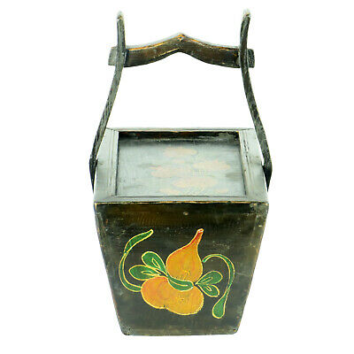 Small Antique Chinese Painted Food Utility Box, Black with Colorful Paintings 7