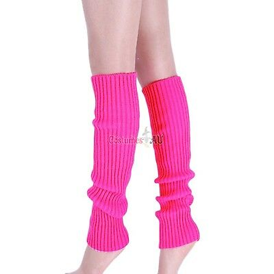 Ladies Legwarmers Gloves leg warmers Knitted Neon Dance 80s Party Costume 1980s 2