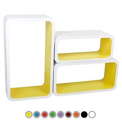 Set of 3 Floating Wall Shelf Floating Shelves Storage living Lounge Wood Cube 16 5