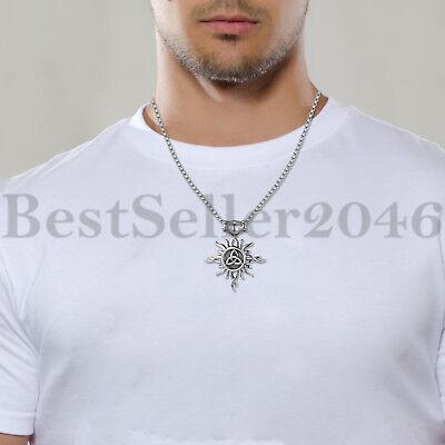 "Men Women Stainless Steel Celtic Knot Tribal Pendant Good Luck Necklace 22"" 6"