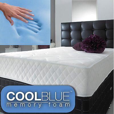 Cool BLUE Memory Foam Mattress Spring 3ft Single 4ft6 Double 5ft King 6ft S King 6
