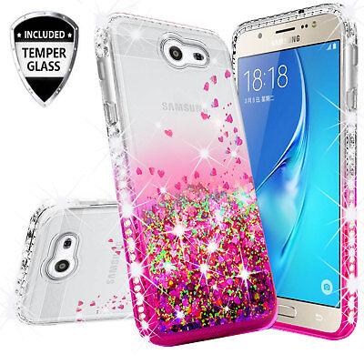 Samsung Galaxy J7 Prime/J7V/J7 Sky Pro/Halo Rhinestone Case Liquid Glitter Cover 6