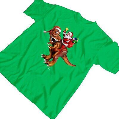 1Tee Kids Boys Santa Riding Dinosaur T rex Christmas T Shirt T-Shirt 2