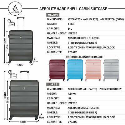 Aerolite Lightweight Luggage Set ABS Hard Shell 4 Wheel Spinner Suitcase 3-Piece 3
