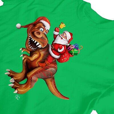 1Tee Kids Boys Santa Riding Dinosaur T rex Christmas T Shirt T-Shirt 3
