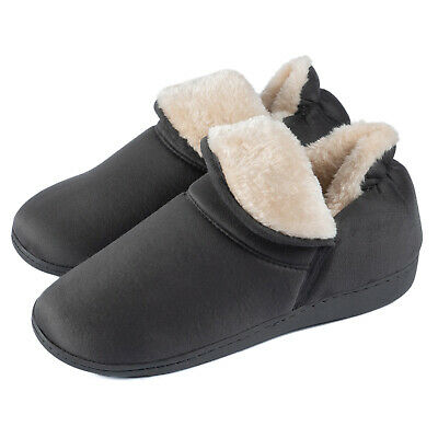 Men's Plush Warm Ankle Bootie Slippers Fuzzy Memory Foam Winter House Shoes 9