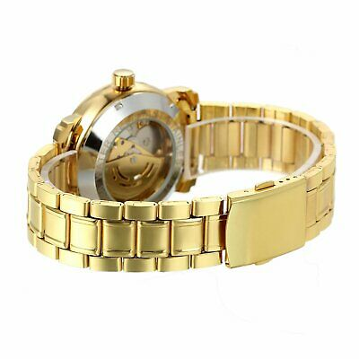 Luxury Mens Stainless Steel Gold Tone Skeleton Automatic Mechanical Wrist Watch 2