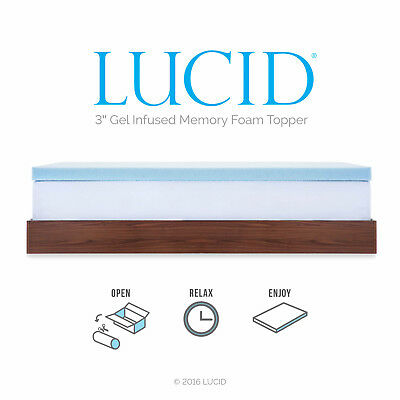 LUCID 2, 3, 4 Inch Cooling Gel Memory Foam Mattress Topper - Full Queen King 7