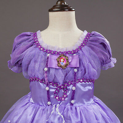 Gorgeous Sofia The First Costume Girls Princess Dress Gown 3-10 ZG8