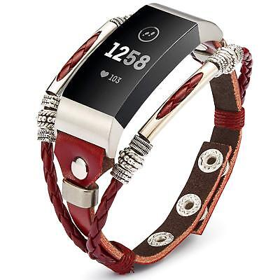 Unique Replacement Leather Wristband Band Strap Bracelet For Fitbit Charge 3 / 2 2