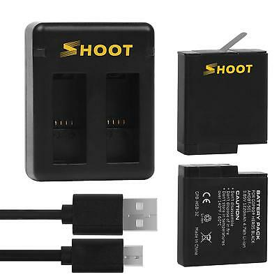 2-Pack Replacement Battery+USB Dual Charger for Gopro 8 GoPro 7 Black HERO 6 5 4