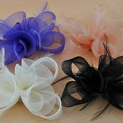 Ivory Black Purple Nude Fascinator Hair Accessories Wedding Ascot Prom Party New 2