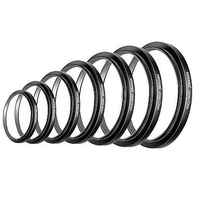 Filter Step Up Rings Set 49-52-55-58-62-67-72-77mm 7 Pcs 49mm-77mm Lens Hood