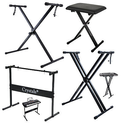 Double Braced Height Adjustable X Frame Music Piano Keyboard Stand & Bench Chair 2