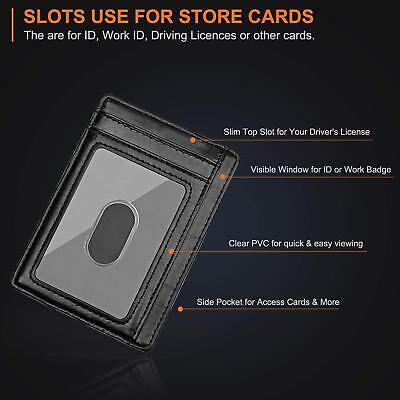 Buffway Slim mini ID holder card case front pocket Leather Wallet for Men Women 2