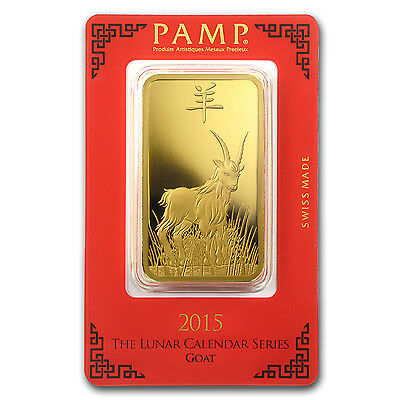 100 gram Gold Bar - PAMP Suisse Year of the Goat (In Assay) - SKU #86050 2