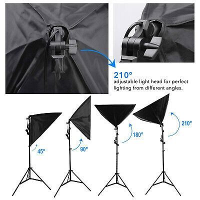 50W LED Continuous Lighting Softbox Photography Studio Soft Box Light Stand Kit 4