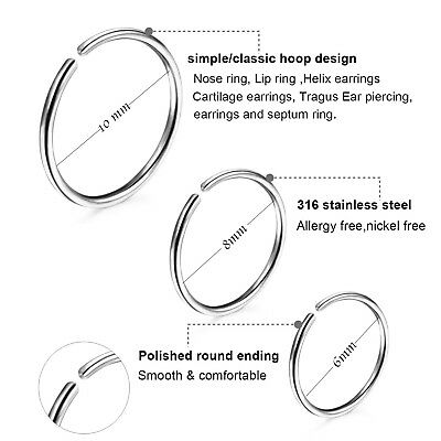 2-8PCS 18G Nose Cartilage Ring Tragus Septum Surgical Steel Piercing Hoop 6-10mm 4
