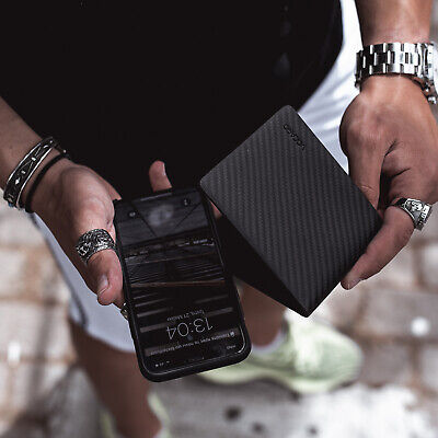 Mens Wallet Rfid Black Genuine Carbon Fiber Leather  Slim Mens Bifold 5