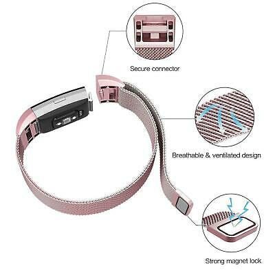 For Fitbit Charge 2 Strap Replacement Milanese Band Metal Stainless Steel Magnet 8