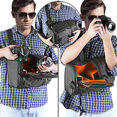 Neewer Pro Camera Case Sling Backpack Bag for Nikon Canon Sony Orange Interior 4