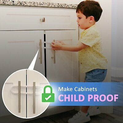 Child Safety Sliding Cabinet Locks (4 Pack) - Baby Proof Knobs, Handles, & Doors 5