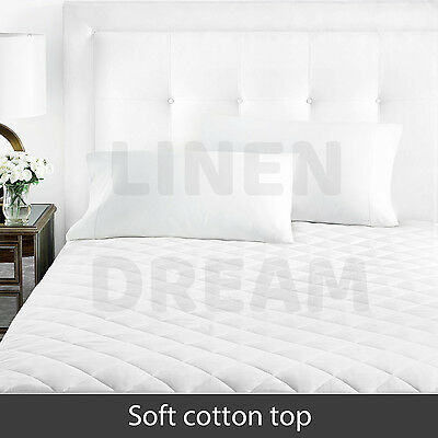 Aus Made Fitted Cotton Cover Quilted Mattress Protector Topper Underlay ALL SIZE 3