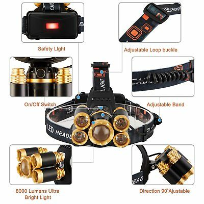 80000LM 5-LED Zoom LED Rechargeable T6 Headlamp  Light Head Torch Flashlights 8