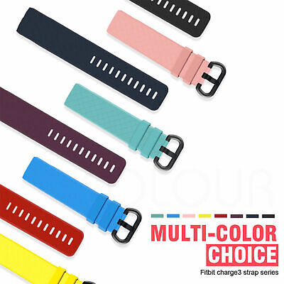 For Fitbit Charge 3 Replacement Silicone Metal Stainless Steel Band Sports (S-L) 2