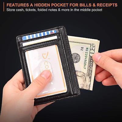 Buffway Slim mini ID holder card case front pocket Leather Wallet for Men Women 3