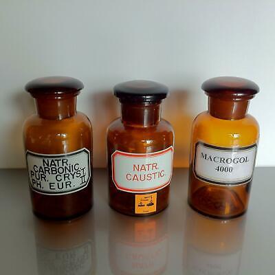 (b50) Braune Apothekerflaschen 250ml mit Label Apotheke Arzt Vorrat Tee Set 3