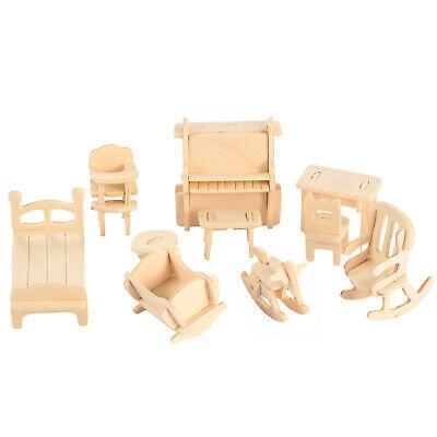 Mini 3D Wooden Puzzle DIY 34 Pcs Miniature Dollhouse Furniture Models For Doll 10