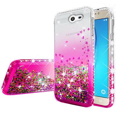 Samsung Galaxy J7 Prime/J7V/J7 Sky Pro/Halo Rhinestone Case Liquid Glitter Cover 5