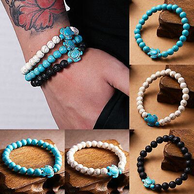 Men Women Natural Stone Turquoise Beaded Turtle Charm Bracelet Lucky Gifts Hot 2