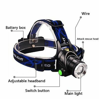 900000Lumen T6 LED Zoomable Headlamp Rechargeable 18650 Headlight + Gift Box US 7