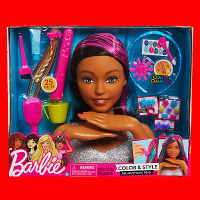 Barbie Color Style Deluxe Styling Head Curly Hair 25 Pieces New Damaged Box 49 99 Picclick