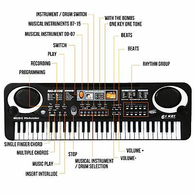 61 Keys Digital Electric Piano Music Electronic Keyboard Organ Mini Microphone 3