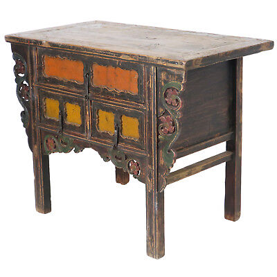 """Antique Chinese Asian 43 """" Wide 3 Drawer Table Coffer Cabinet Vanity 8"""