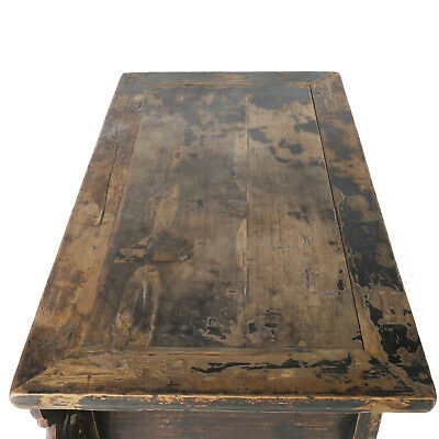 """Antique Chinese Asian 43 """" Wide 3 Drawer Table Coffer Cabinet Vanity 9"""