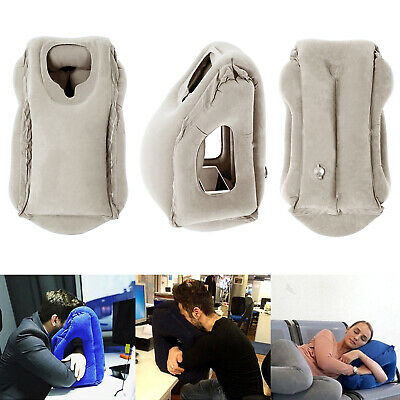 Inflatable Air Travel Pillow Airplane Office Nap Rest Neck Head Chin Cushion 2