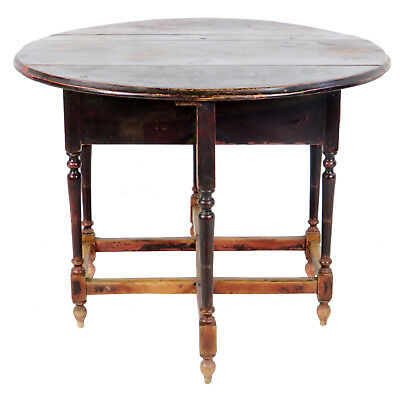 Antique Asian Chinese 42 inch Round Drop Leaf Gate Leg Table 4