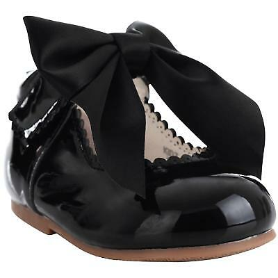 Girls Bridesmaids Bow Ribbon Party Shoes Patent Shoes Infant Sizes UK 1,3,5,7,10 5