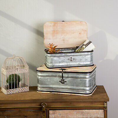 Glitzhome 2PCS Rustic Antique Storage Boxes Chests Set Farmhouse Organizer New 2